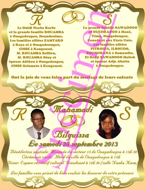 Invitation De Mariage Coutumier Decoration Pour Mariage